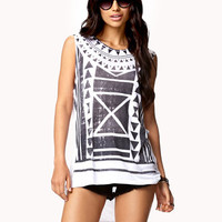 High-Low Tribal Print Top