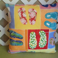 Pillow Cover with Flip-Flops in Bright Yellow, Orange, Green, and Blue