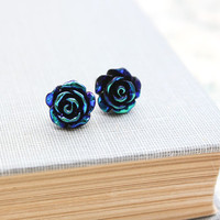 Rose Stud Earrings, Black Teal Blue, Metallic Shimmer, Midnight Rose, Surgical Steel Nickel Free Modern Accessories