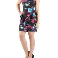 Vertical Peplum Tropical Floral Print Dress: Dots.com