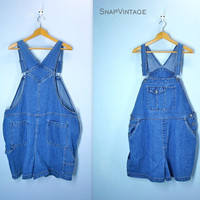 Vintage Overalls Shorts / Carpenter Denim Overalls / Plus Size Shorts