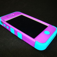 Apple iPhone 4 4S Hard Hybrid Case Cover Rubberized Purple/Teal Blue Skin TUFF C