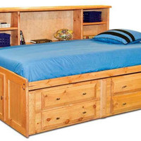 Henry Lee Twin Size Big Bookcase Captain's Bed