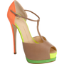 Giuseppe Zanotti Fluorescent T-Strap Platform Sandal at Barneys.com