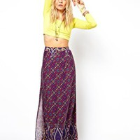 ASOS Maxi Skirt in Border Print at asos.com