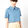 The WhitePepper Cropped Shirt with Collar at asos.com