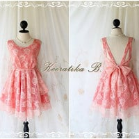 A Party V Shape -  Prom Party Cocktail Wedding Bridesmaid Dinner Night Backless Timeless Lace Dress Peachy Pink Color Lacy Dress