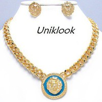 Chunky Gold & Teal Blue Lion Medallion Metal Chain Fashion Jewelry necklace Set