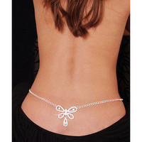 www — Rhinestone sexy bow heart-shaped waist chain