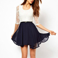 Romantic moments — Lace stitching chiffon dress pleated skirt
