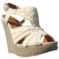 Women's Qupid Ivory Crochet Slingback Platform Wedge (Glory34)