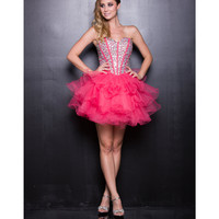 Watermelon Tulle Short Prom Dress