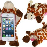 FUDE® PC Plastic & Plush Rotary 3D Plush Giraffe Protective Case for iPhone 5