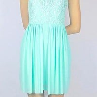 V-Back Sleeveless Dress with Lace Top &amp; Scalloped Hem