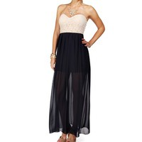 Pre-Order CreamNavy Strapless Lace Maxi Dress