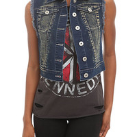 Blue Acid Wash Denim Vest | Hot Topic