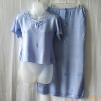Papillon blue rayon short sleeve top & long skirt suit with embroidery & mirrors