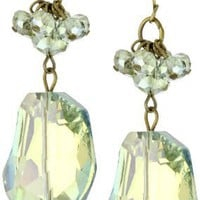"Leslie Danzis ""Irridescent"" 2.5"" Green Chunky Stone Earrings"