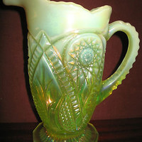 Vaseline Opalescent Carnival Glass water serving Pitcher diamond Pattern uranium