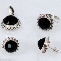 24.77cts BLACK ONYX ROUND 925 SILVER RING EARRINGS PENDANT JEWELRY SET D9714