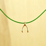 Petite Wishbone Necklace, Gold Plated Brass Pendant, Genuine Leather Cord, Everyday Wear, Perfect Gift, also in Rhodium Plated