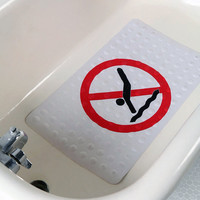 No Diving Natural Rubber High Grip Suction Cup Bath Mat