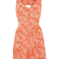 New Look Mobile | Innocence Orange Palm Open Back Playsuit