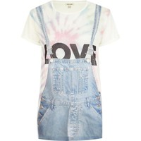 Blue love dungaree print oversized t-shirt - print t-shirts / tanks - t shirts / tanks / sweats - women