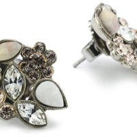 "Sorrelli ""Snow Bunny"" Neutral Crystal Floral Cluster Silver-Tone Earrings"