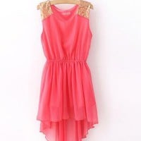 Watermelon Red Sequin Shoulder High-Low Chiffon Dress