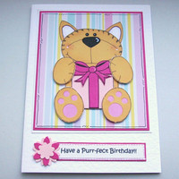 Clearance Sale - Have a Purr-fect Birthday - Ginger Cat with Pink Present - Card