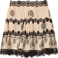 Anna Sui|Lace-appliqud printed cotton and silk-blend jacquard skirt|NET-A-PORTER.COM