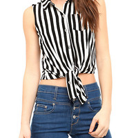 Black And White Stripe Tie Front Top | Hot Topic