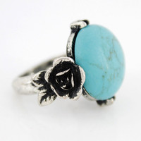 New Silvertone Floral Natural Turquoise by JuliesJewelryStore