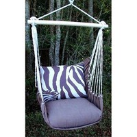 Outdoor Indoor Hammock Swing Chair w/ Pillow BROWN White ZEBRA stripes