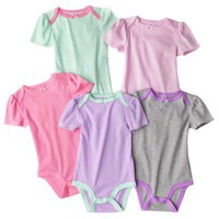 Circo Newborn Girls&#x27; 5 Pack Short-sleeve Bodysuit Set -Green/Pink/Gray
