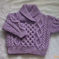 Aran cable sweater with crossover neck in lavender for baby or toddler