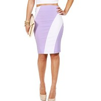 Lilac Diagonal Stripe Pencil Skirt