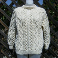 Handknit aran sweater for men or women