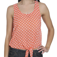 Dot Print Tie Front Tank | Shop Tops at Wet Seal