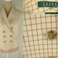 Ralph Lauren Vest L LARGE double breasted equestrian button check brown beige