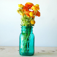 Vintage Ball Ideal Mason Jar - Bicentennial - Turquoise Blue Glass