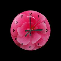 Pink Begonia Wall Clock from Zazzle.com