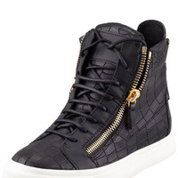 Giuseppe Zanotti Croc-Embossed Low Top Sneaker, Black