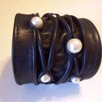 Black Leather Stitched Cuff with Pearl Beads by joaniemo on Etsy