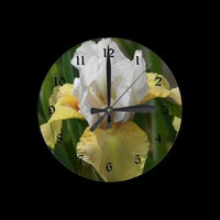 Yellow and White Iris Wall Clock from Zazzle.com