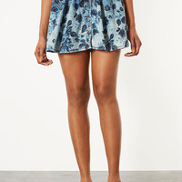 MOTO Denim Floral Flippy Skirt - Skirts - Clothing - Topshop USA