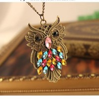 Antique Alloy with Colour Crystal Owl Long Prendant Necklace~*~:Amazon:Everything Else