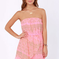O&#x27;Neill Hunter Strapless Neon Pink Print Dress