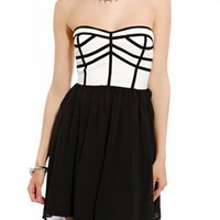 Piped Contrast Mini Dress